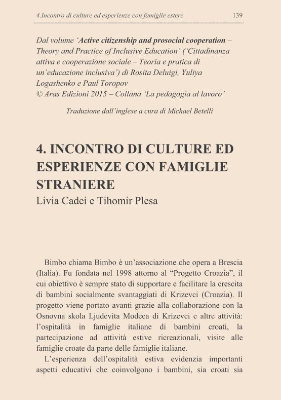 Anteprima Traduzione 'Incontro di culture ed esperienze con famiglie straniere'