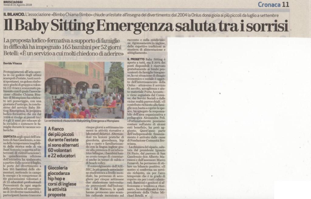 Bresciaoggi 31-08-2018