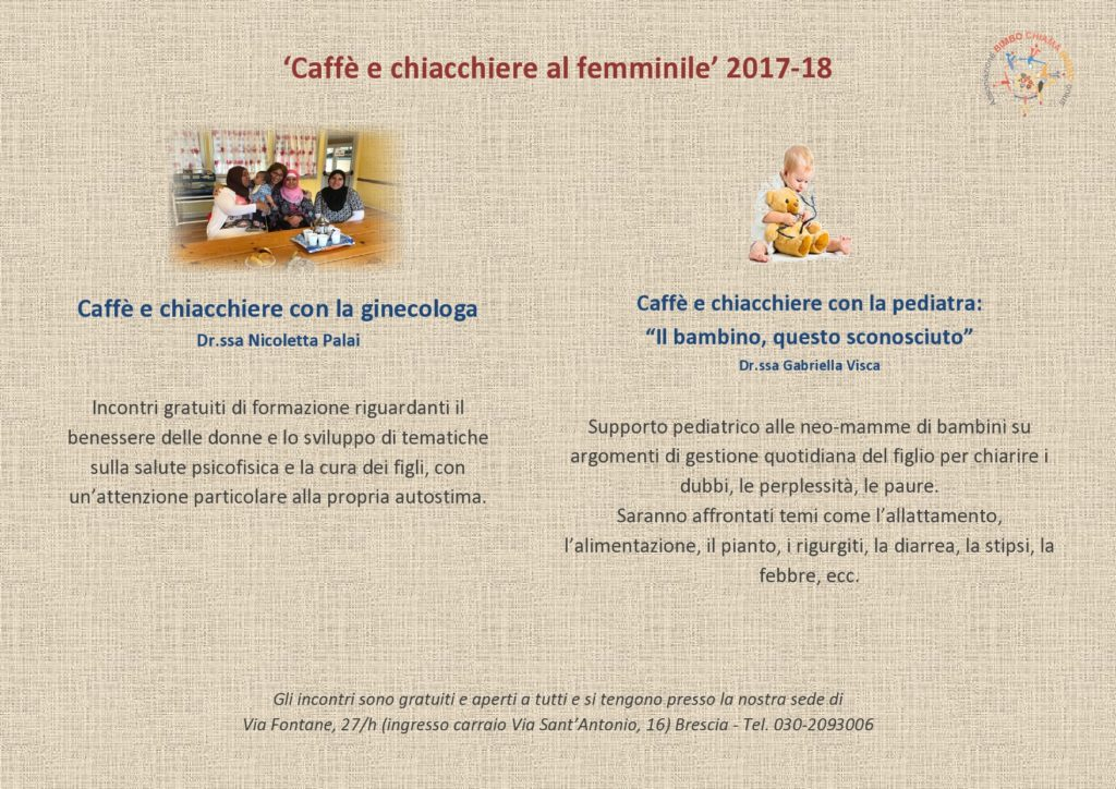 Flyer - Caffè e chiacchiere al femminile (ginecologa e pediatra)